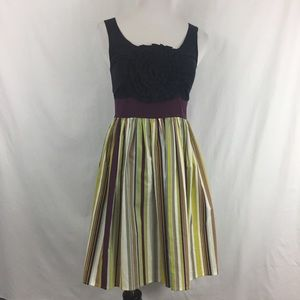 Anthropologie Burlapp Fit Flare Striped Dress